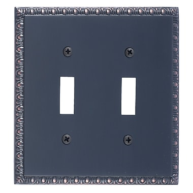 BRASS Accents Egg and Dart Double Switch Plate; Venetian Bronze