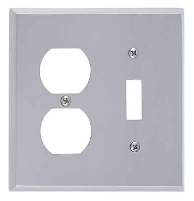 BRASS Accents Quaker Outlet Plate; Satin Nickel