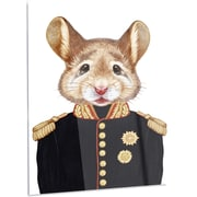 DesignArt 'Mouse in Military Uniform' Graphic Art on Metal; 28'' H x 12'' W x 1'' D