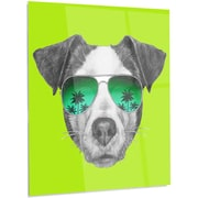 DesignArt 'Jack Russell in Green Glasses' Graphic Art on Metal; 28'' H x 12'' W x 1'' D