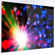 DesignArt Abstract 'Multicolor Optical Fiber Lighting' Graphic Art on Metal; 12'' H x 28'' W x 1'' D