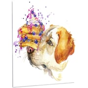 DesignArt 'Cute Labrador Dog Watercolor' Graphic Art on Metal; 28'' H x 12'' W x 1'' D