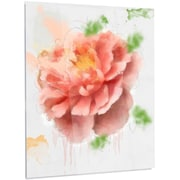 DesignArt 'Light Red Rose Watercolor' Painting Print on Metal; 28'' H x 12'' W x 1'' D