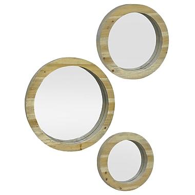 Three Hands Co. 3 Piece Circular Wood Wall Mirror Set