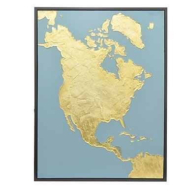 Three Hands Co. 'Gold Map' Framed Painting Print