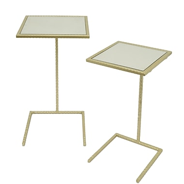 Three Hands Co. Square Metal Mirror Top 2 Piece Nesting Tables