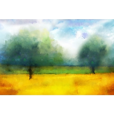 Buy Art For Less 'Watercolor Landscape Abstract I' by Cliff Warner Painting Print on Wrapped Canvas