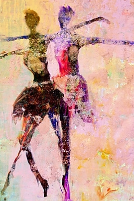Buy Art For Less 'Watercolor Ballet Dancers Duo II' by Cliff Warner Painting Print on Wrapped Canvas