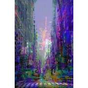 Buy Art For Less 'Abstract Purple City Scene' by Cliff Warner Painting Print on Wrapped Canvas