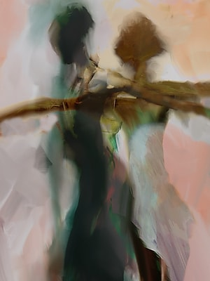'Abstract Silhouette of Female Dancers' by Cliff Warner Painting Print on Wrapped Canvas