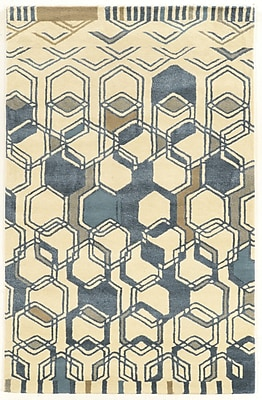 Varick Gallery Schaffner Triangle Hand-Tufted Ivory/Gray Area Rug; 2' x 3'