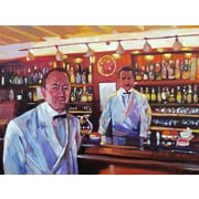 'Harry's American Bar - Bartender Painting' by David Lloyd Glover Painting Print on Wrapped Canvas