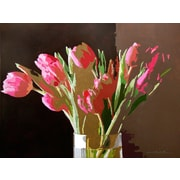Buy Art For Less 'Pink Tulips in a Vase' by David Lloyd Glover Painting Print on Wrapped Canvas