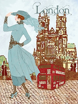 Buy Art For Less 'London Diva Around the World Fashion' by Jill Meyer Graphic Art on Wrapped Canvas