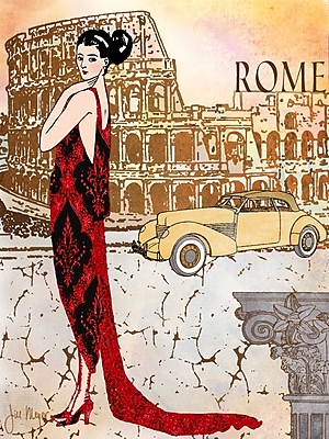 'Rome Diva Around the World Fashion Female' by Jill Meyer Graphic Art on Wrapped Canvas