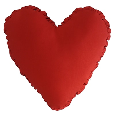 R&MIndustries Shirred Heart Cotton Throw Pillow; Red