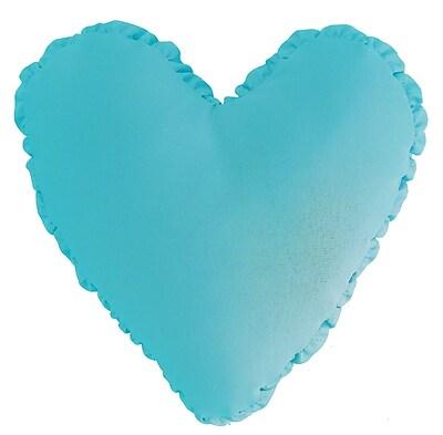 R&MIndustries Shirred Heart Cotton Throw Pillow; Aqua