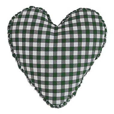 R&MIndustries Gingham Check Heart Cotton Throw Pillow; Hunter