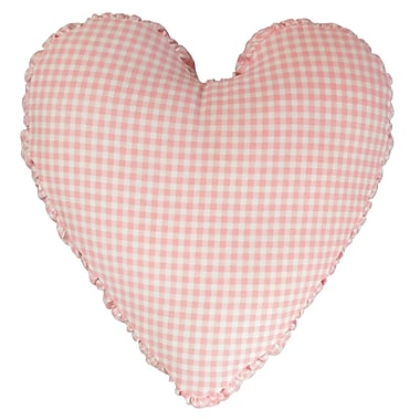 R&MIndustries Gingham Mini Check Heart Cotton Throw Pillow; Pink