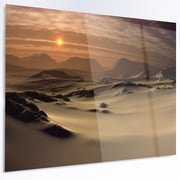 DesignArt 'Beautiful Brown Fantasy Terrain' Photographic Print on Metal; 12'' H x 28'' W x 1'' D