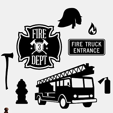 SweetumsWallDecals Firefighter Wall Decal; Black