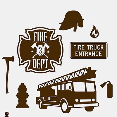 SweetumsWallDecals Firefighter Wall Decal; Brown