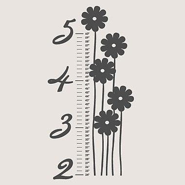 SweetumsWallDecals Flower Growth Chart Wall Decal; Dark Gray