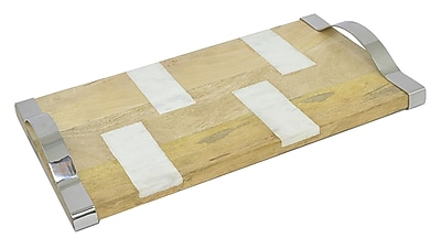 Three Hands Co. Wood and Marble Serving Tray