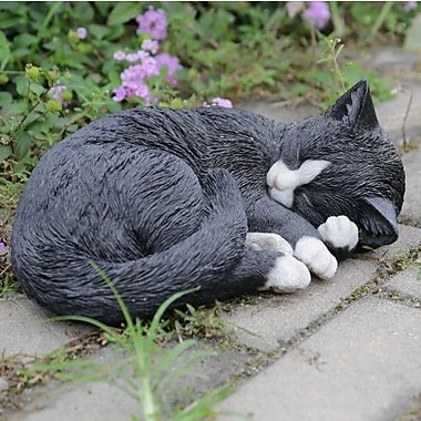Hi-Line Gift Ltd. Black and White Cat Lying and Sleeping Statue