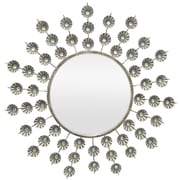 Three Hands Co. Metal Jeweled Wall Mirror; Silver