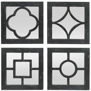 Three Hands Co. 4 Piece Geometric Overlays Wood Wall Mirror Set; Distressed Black