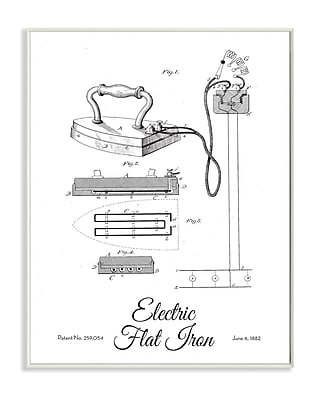 Stupell Industries Electric Iron Patent Drawing Graphic Wall Plaque