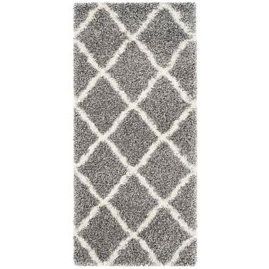 Gracie Oaks Macungie Geometric Gray Indoor Area Rug; Runner 2'3'' x 5'