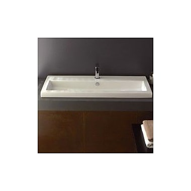 Ceramica Tecla 47.2'' Rectangular Ceramic Wall Mounted Bathroom Sink w/ Overflow; No Hole