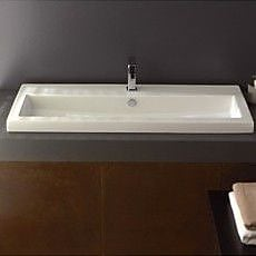 Ceramica Tecla 47.2'' Rectangular Ceramic Wall Mounted Bathroom Sink w/ Overflow; Single Hole