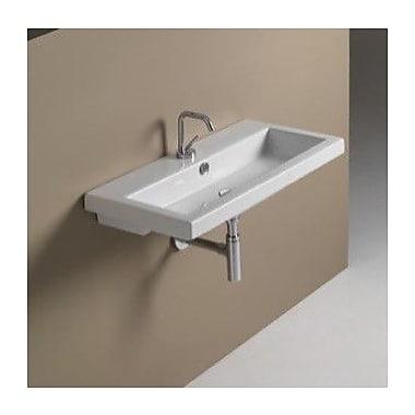 Ceramica Tecla 31.5'' Rectangular Ceramic Wall Mounted Bathroom Sink w/ Overflow; 3 Hole