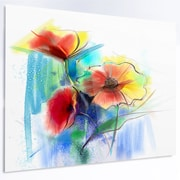 DesignArt 'Watercolor Multi-color Flower Illustration' Graphic Art on Metal; 12'' H x 28'' W x 1'' D