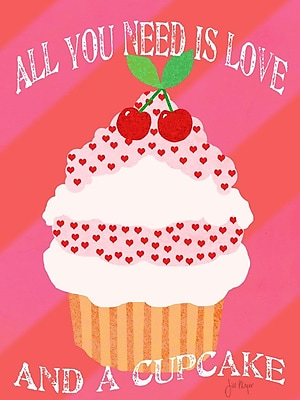 Buy Art For Less 'All You Need Is Love and a Cupcake' by Jill Meyer Graphic Art on Wrapped Canvas