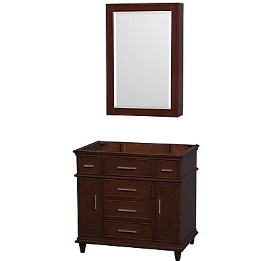 Wyndham Collection Berkeley 35'' Single Bathroom Vanity Base; Dark Chestnut