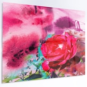 DesignArt 'Red Rose on Abstract Paper' Graphic Art on Metal; 12'' H x 28'' W x 1'' D