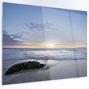 DesignArt 'Beautiful Rocky Seashore in Blue' Photographic Print on Metal; 12'' H x 28'' W x 1'' D