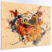 DesignArt 'Butterfly and Abstract Art on Paper' Painting Print on Metal; 12'' H x 28'' W x 1'' D