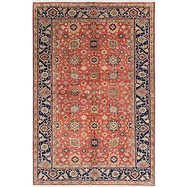 ECARPETGALLERY Serapi Heritage Wool Hand-Knotted Copper/Dark Navy Area Rug