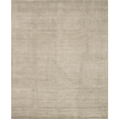 ECARPETGALLERY Shimmer Silk Hand-Knotted Khaki Area Rug