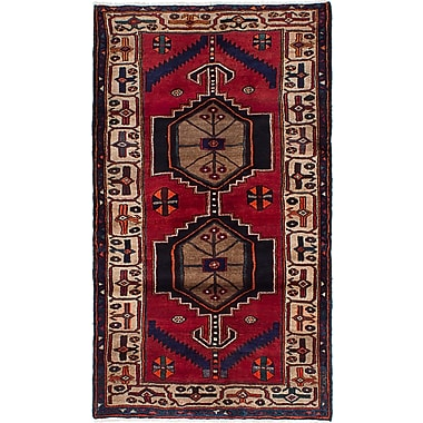 ECARPETGALLERY Hamadan Wool Hand-Knotted Red Area Rug