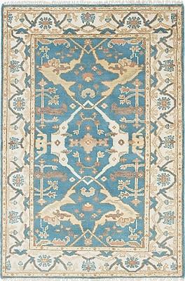 ECARPETGALLERY Royal Ushak Wool Hand-Knotted Cream/Dark Turquoise Area Rug