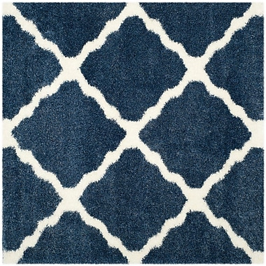Gracie Oaks Macungie Blue / Ivory Indoor Area Rug; Square 6'7''