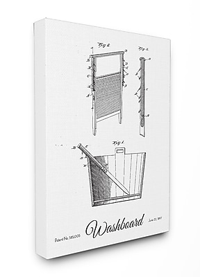 Stupell Industries Washboard Patent Drawing Graphic Canvas Wall Art