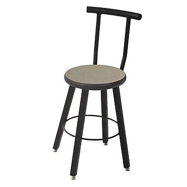 WB Manufacturing 24'' Round Laminate Armor Edge Seat 4 Leg Stool w/ Backrest