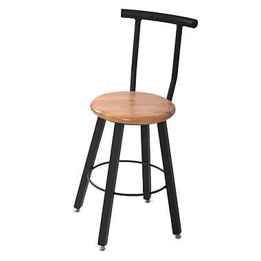 WB Manufacturing 24'' Round Hardwood Seat 4 Leg Stool w/ Backrest